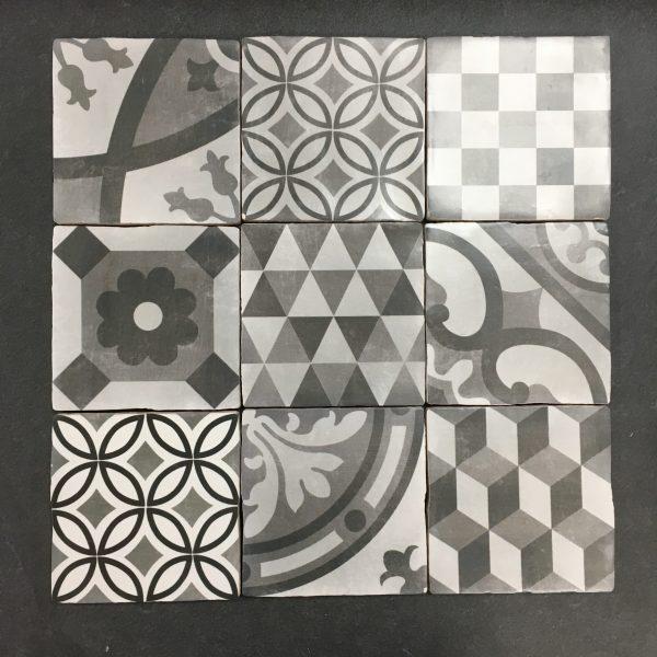 Cementum 10x10cm patroon zwart wit